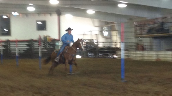 Just doing a little pole bending at the rodeo!
