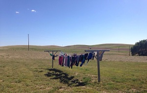 hanging out clothes to dry, North Dakota, clothesline